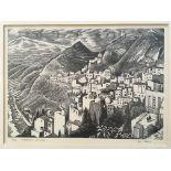 GUY MALET. Framed, signed in pencil, titled 'Taormina & Mount Etna', limited edition 3/50 line