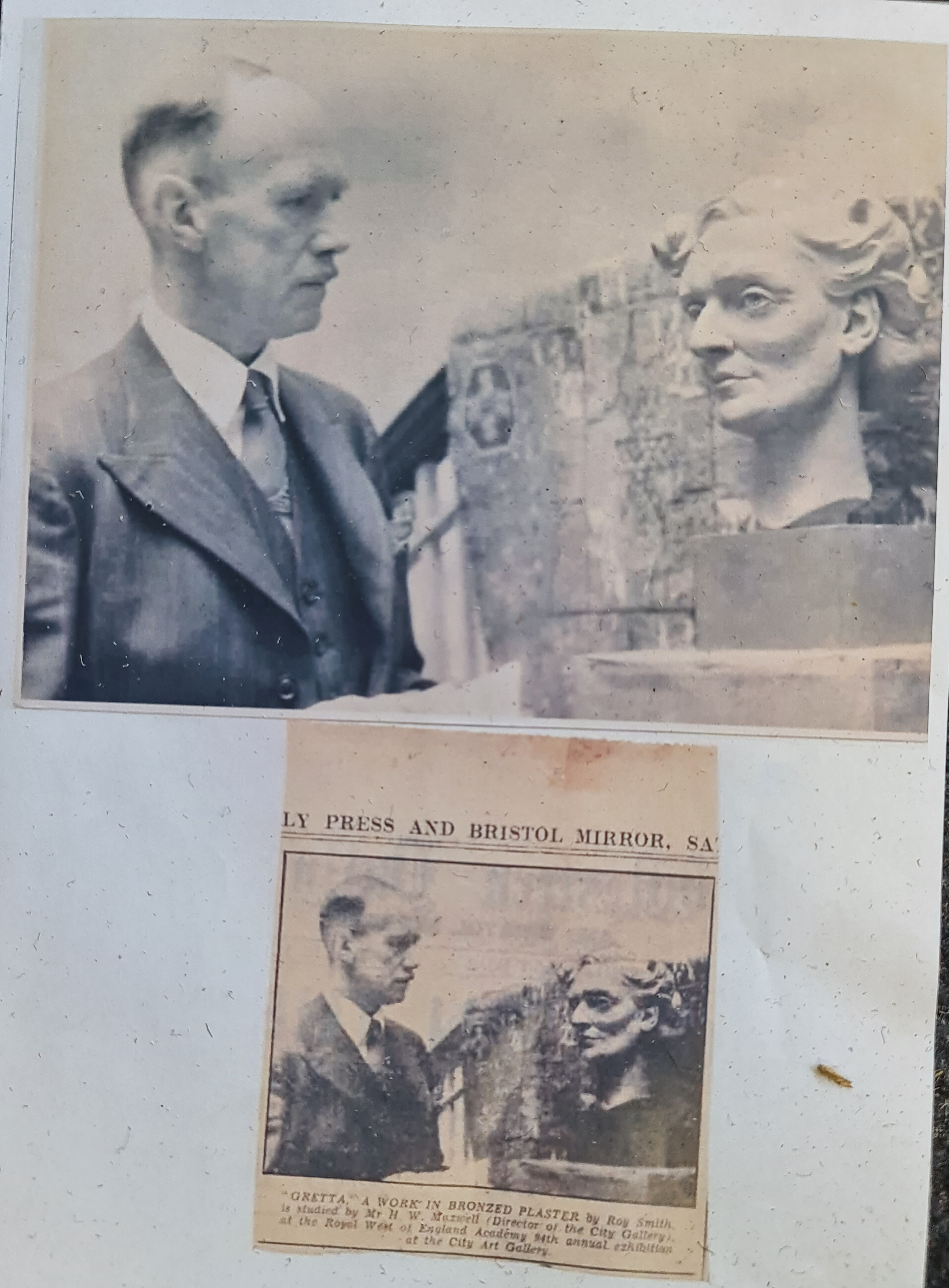 ROY SMITH (R.W.A. Wedgwood sculptor). Signed verso, dated 1946 and titled 'Gretta', plaster - Image 2 of 2