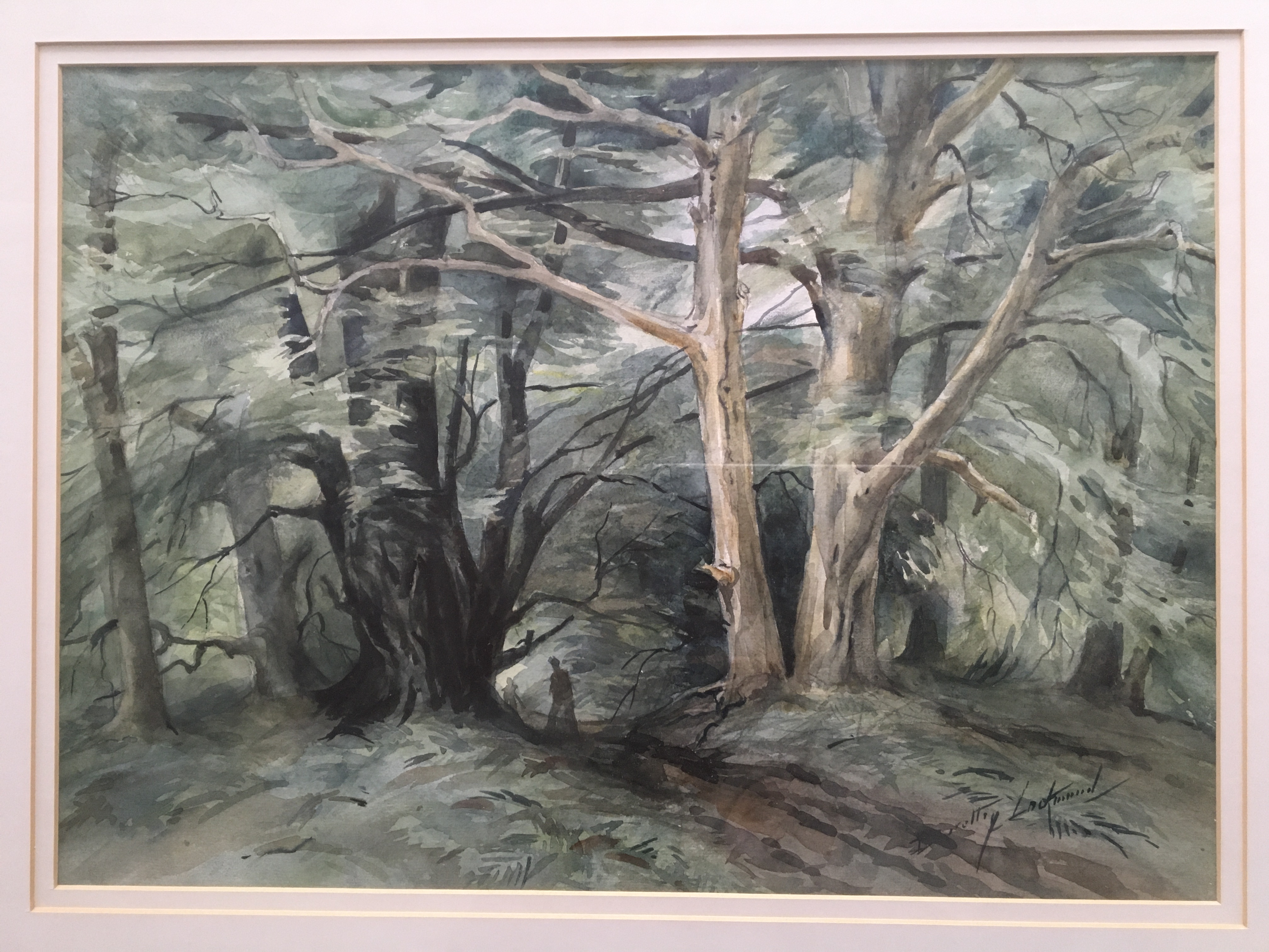 DOROTHY LOCKWOOD. Framed, signed and titled 'The New Forest', watercolour on paper, figures - Image 3 of 3