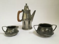 Archibald Knox Liberty & Co. arts & crafts Tudric pewter 0303 cream jug and two handled bowl,