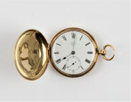 A Victorian 18ct yellow gold full Hunter DENT pocket watch, the white enamel dial having hourly