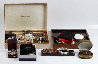 A collection of costume jewellery, to include beads, pendants, bangles, bracelets, simulated pearls,