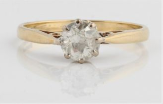 A hallmarked 9ct yellow gold diamond solitaire ring, set with an old cut diamond measuring approx.