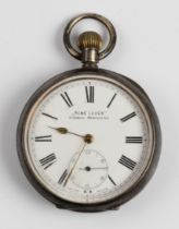 A hallmarked silver import ACME LEVER pocket watch, the white enamel dial having hourly Roman