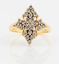 A hallmarked 18ct yellow gold diamond cluster ring, set with 25 round brilliant cut diamonds,