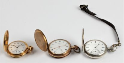 A gold plated full hunter Waltham U.S.A pocket watch, the white enamel dial having hourly Roman