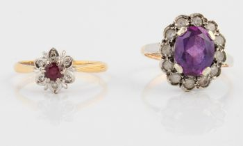 A ruby and diamond flower cluster ring, stamped 18ct, ring size P, together with a purple