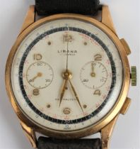 A gent's LIBANA wrist watch, the champagne dial having alternate hourly Arabic numerals and dot