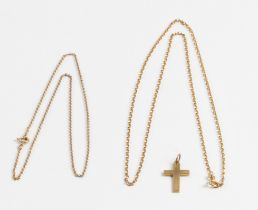 A cross pendant, indistinctly stamped, together with a hallmarked 9ct yellow gold belcher link chain