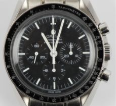 A gents Omega Speedmaster Professional Moonwatch, the black dial having hourly baton markers with