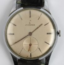 A gent's chrome Juvenia wrist watch, the champagne dial having hourly baton markers with