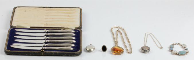 A lot to include a Victorian hallmarked silver locket on chain, a stone set bracelet, stamped 925, a
