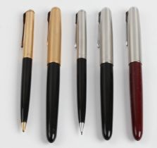 Two boxed Parker writing sets comprising a fountain pen and propelling pencil, together with another