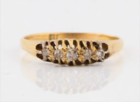 A diamond five stone ring, set with five graduated old cut diamonds, total diamond weight approx.
