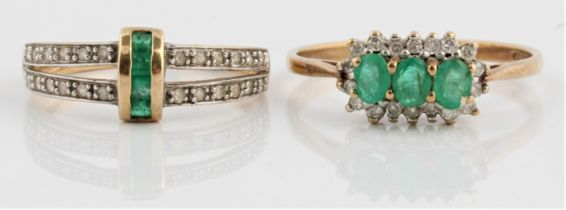 Two hallmarked 9ct yellow gold emerald and diamond rings, one of cluster design, ring size S½, the