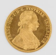 A 1915 Austrian 4 Ducat gold coin. (PLEASE NOTE, NO BUYERS PREMIUM CHARGED ON THIS LOT. IF BUYING