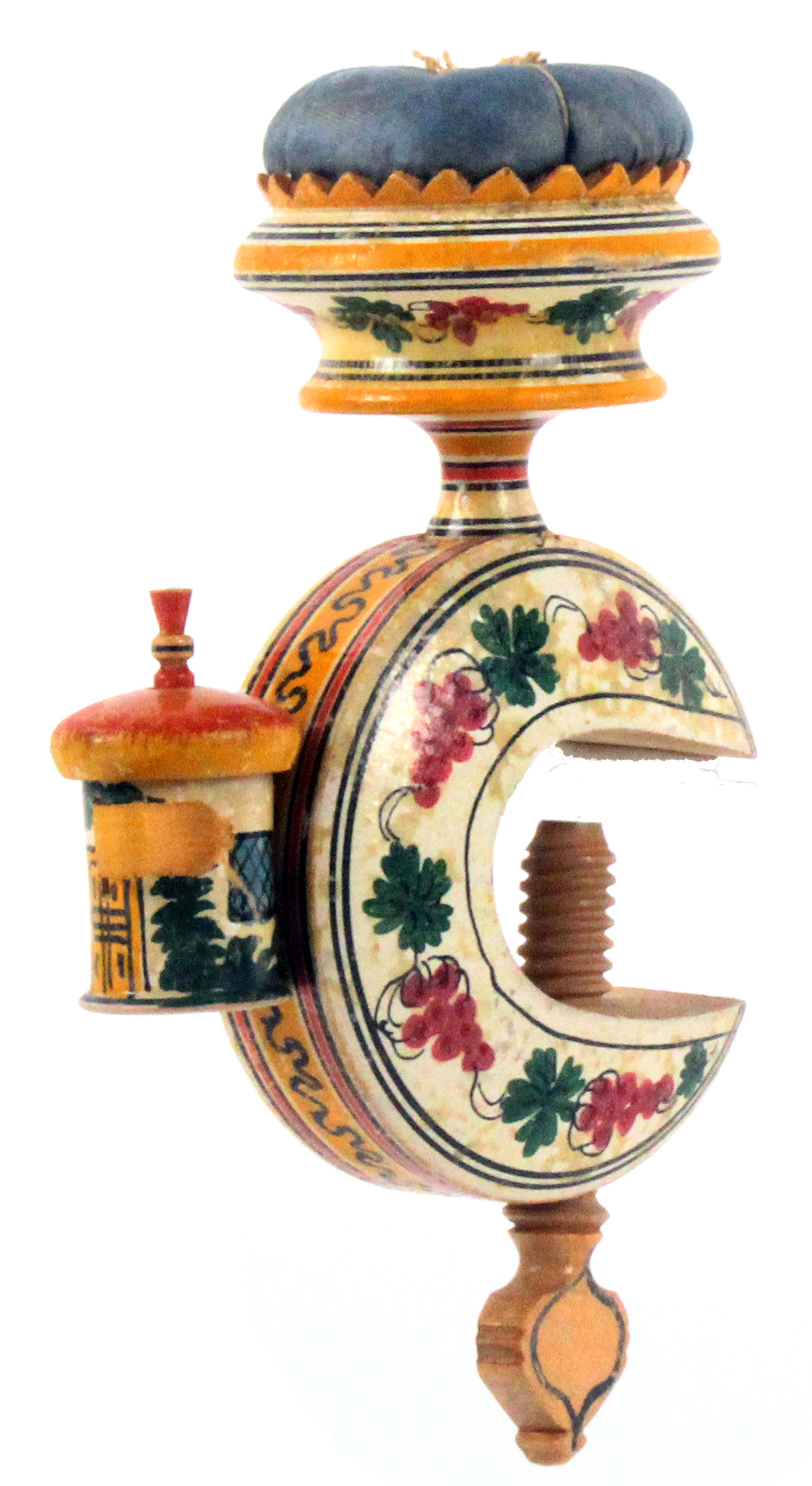 A Tunbridge ware white wood painted cottage sewing clamp, the 'C' form frame painted with fruiting