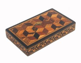 A Tunbridge ware rectangular desk paperweight, the top with a panel of cube work the sides in
