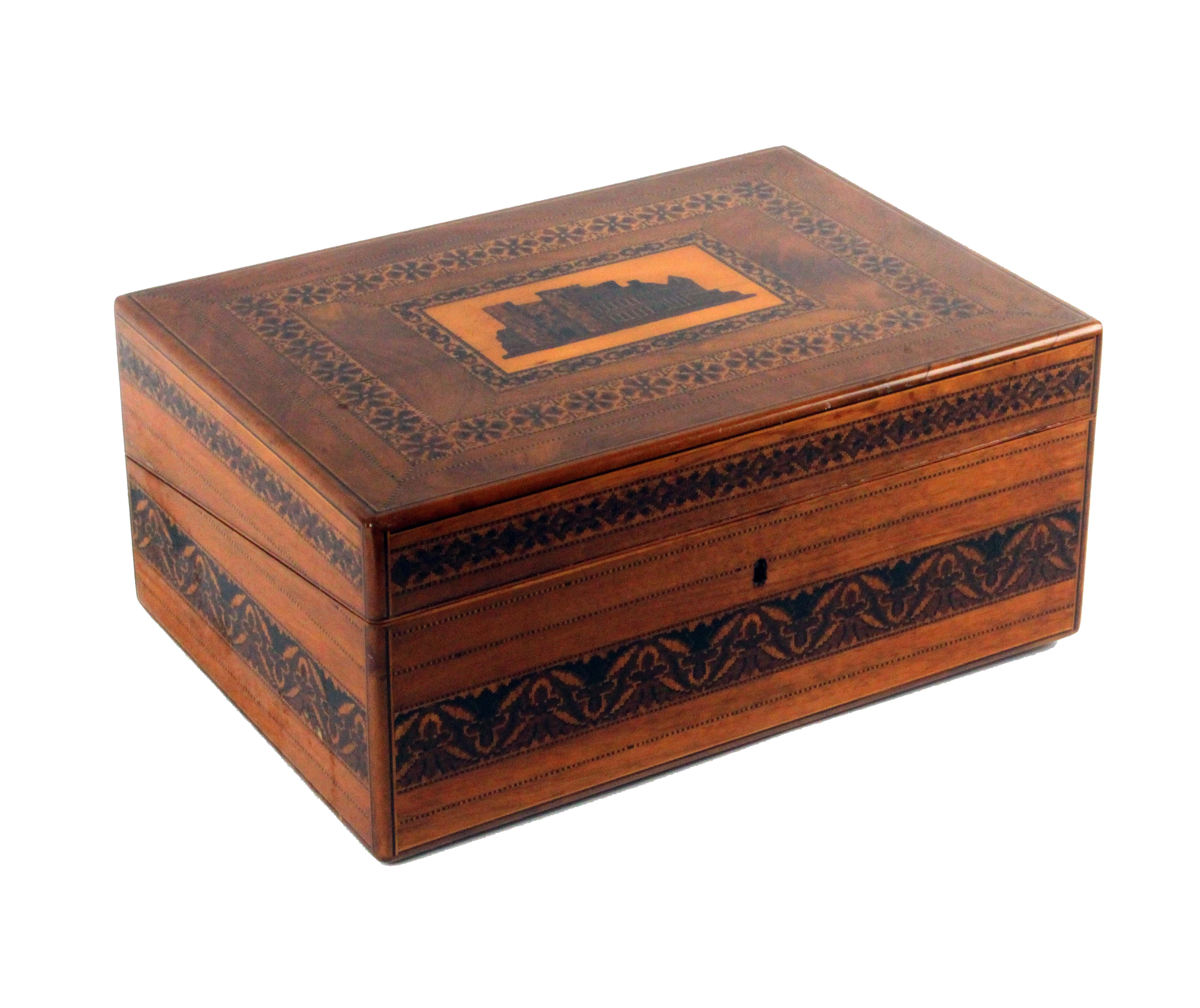A rare Tunbridge ware mahogany writing box, the lid with an inset mosaic panel of Tunbridge Castle