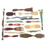 Sixteen 19th Century misers purses, largest 49cms.  (16)