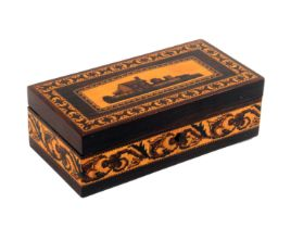 A scarce rosewood Tunbridge ware rectangular box, the lid with an inset mosaic panel of a cottage