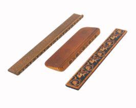 Tunbridge ware - three pieces, comprising a geometric mosaic ruler, 20.2cms, a scrabble ledge
