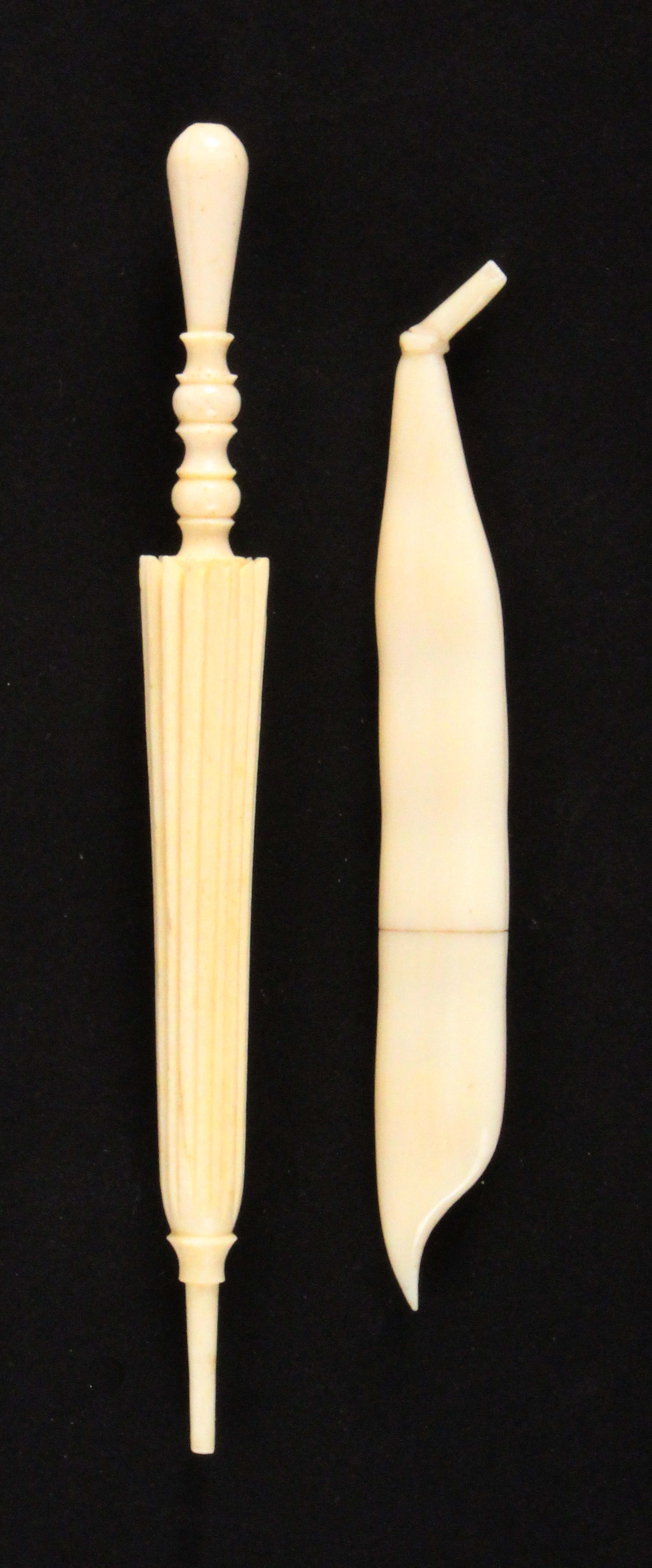 Two 19th Century ivory needle cases, comprising an example carved as a pea pod, 9cms, the other in