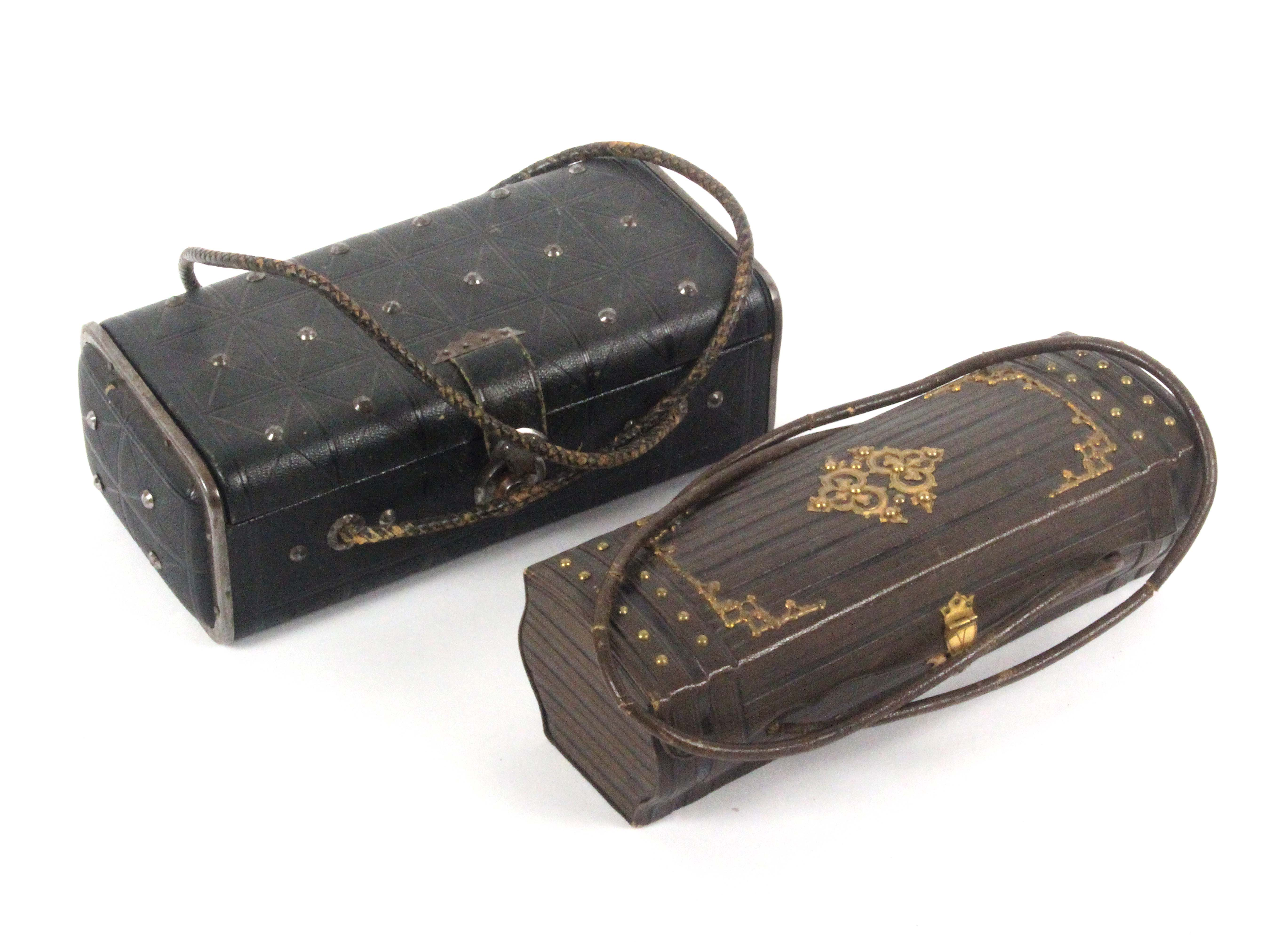 Two late 19th Century French 'basket' form sewing companions, comprising a brown leather example