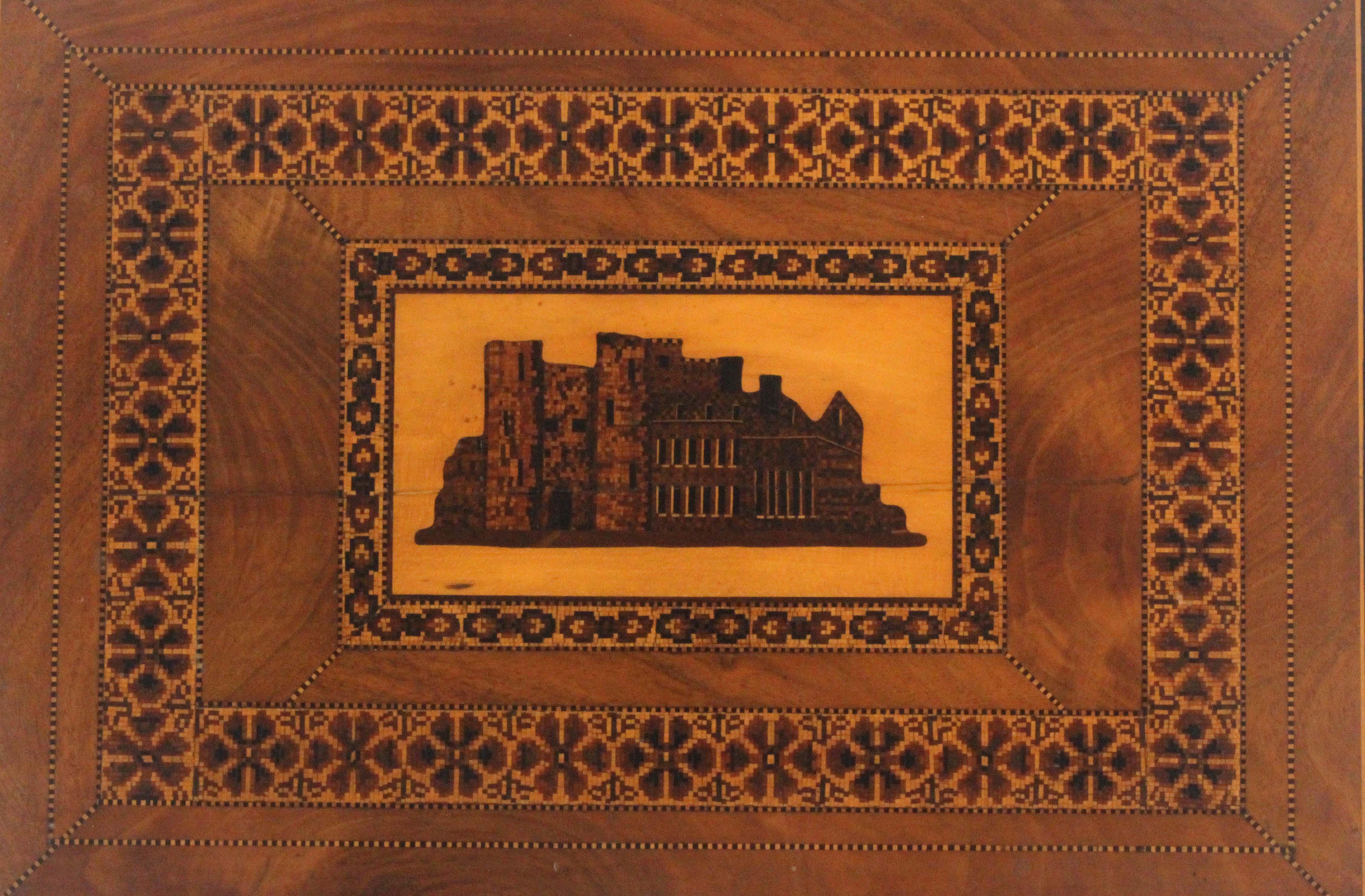 A rare Tunbridge ware mahogany writing box, the lid with an inset mosaic panel of Tunbridge Castle - Image 2 of 4