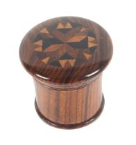 A Tunbridge ware rosewood nutmeg grater, the over hanging screw top with a circular panel of stick