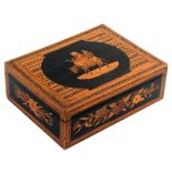 A late 19th Century Sorrento ware box by Michel Grandville, of rectangular form, the lid with a