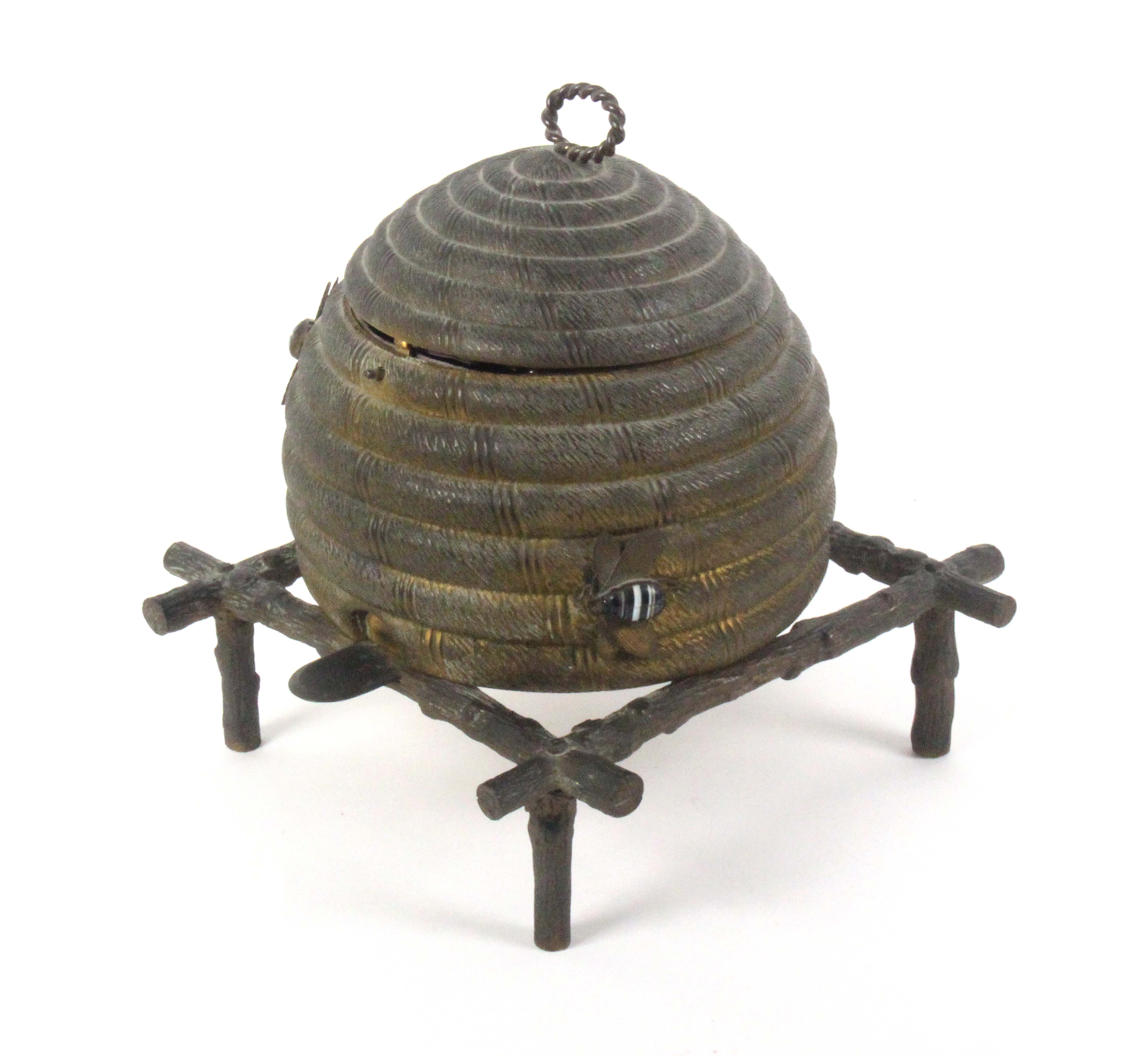 An unusual gilt metal sewing casket in the form of a bee skep, circa 1870, the surface dull, - Image 3 of 3