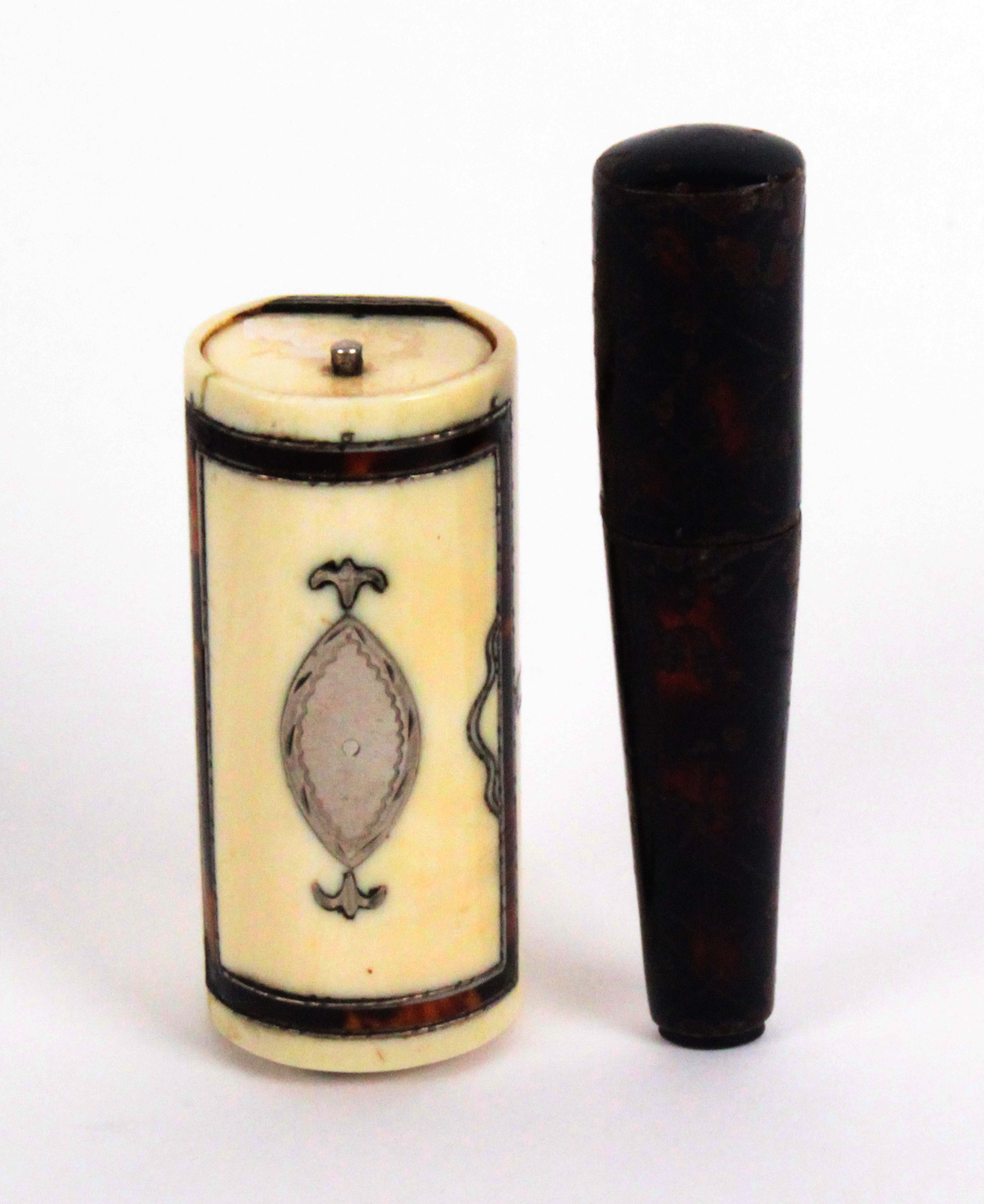 Two incomplete early 19th Century etuis, comprising an ivory example in the form of a travelling