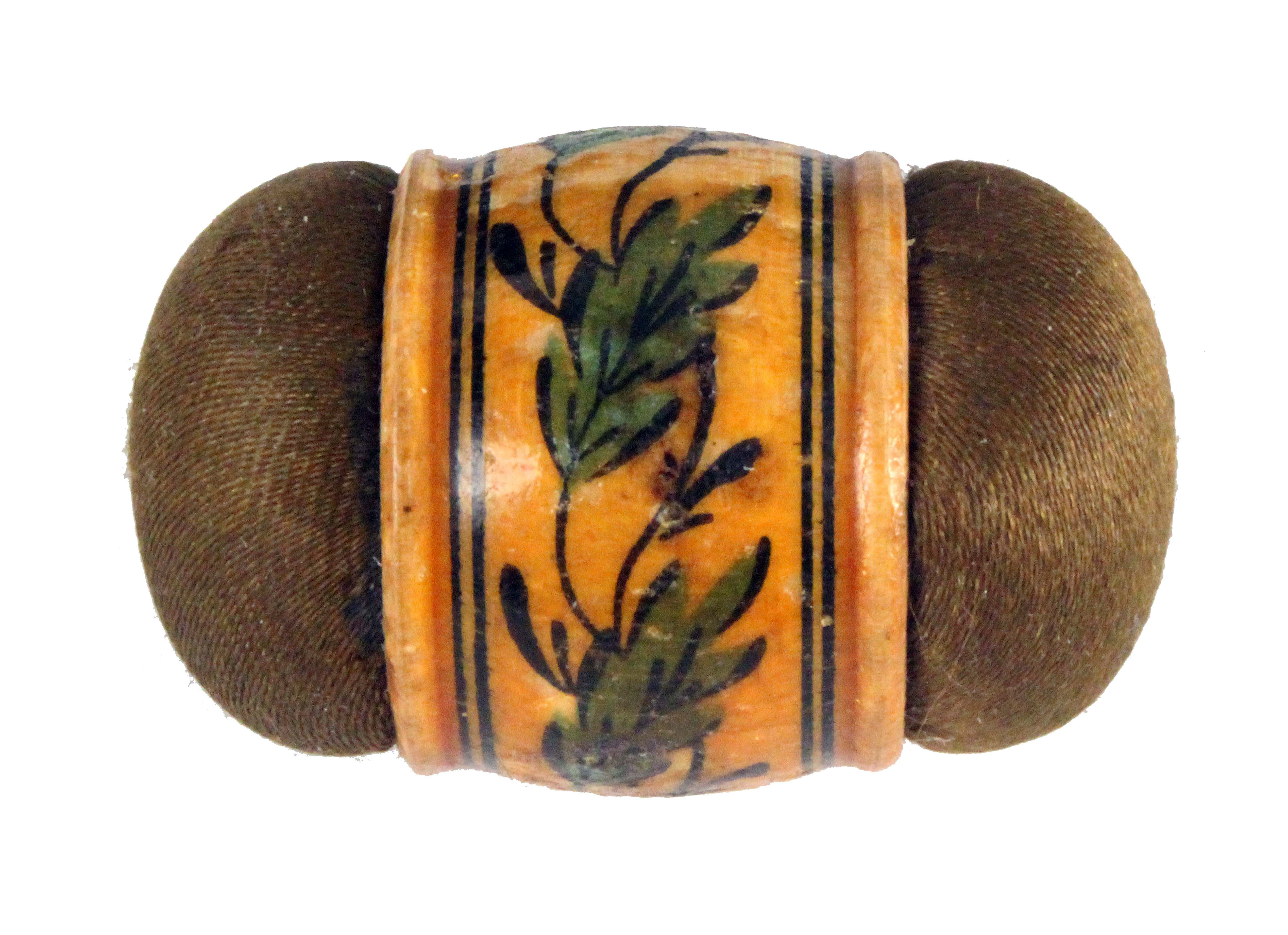 An early painted Tunbridge ware girdle form pin cushion, the girdle painted in green and black