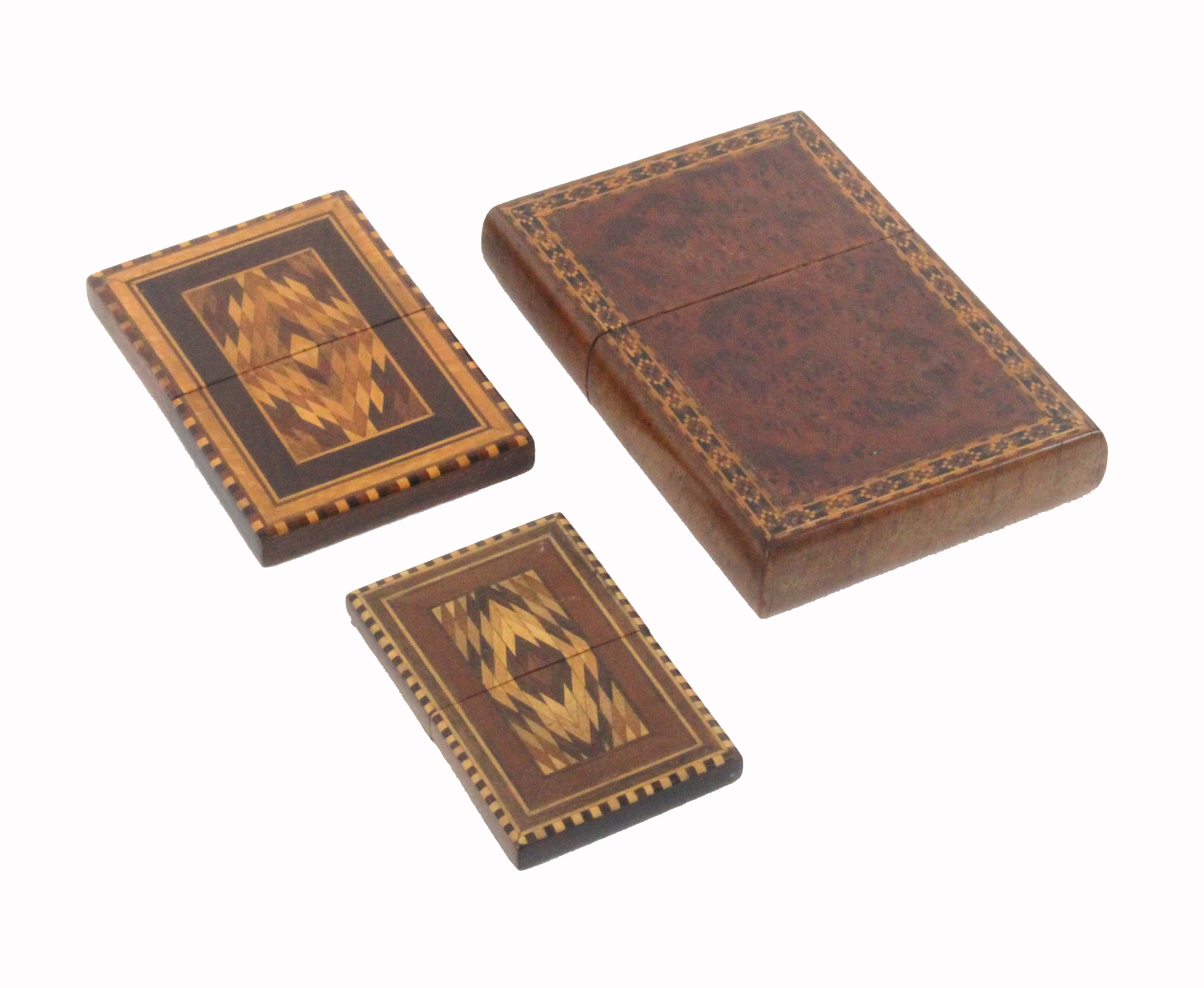 An amboyna wood and Tunbridge ware cigar case, of rectangular form with pull off lid, one side