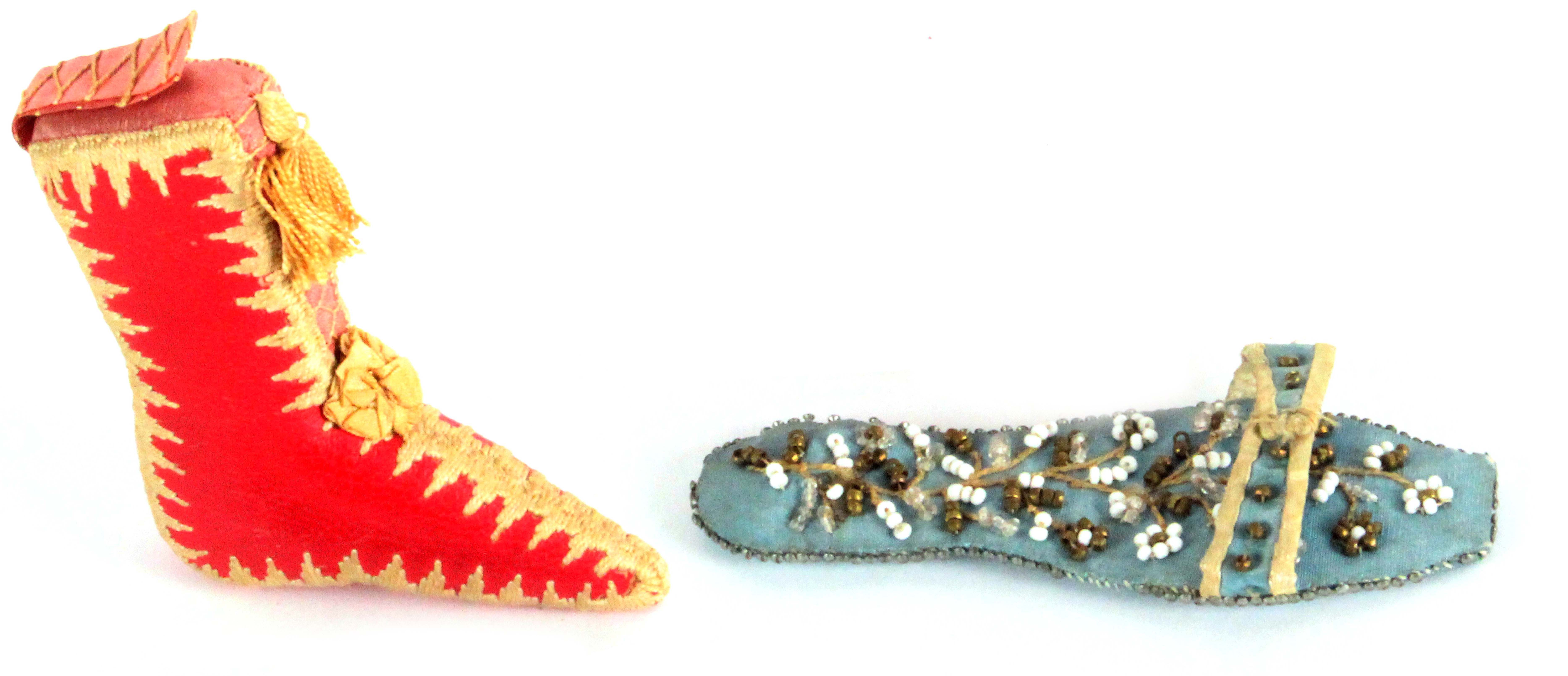 A lady's boot pin cushion and a beadwork sandal, the first in red leather with elaborate stitched