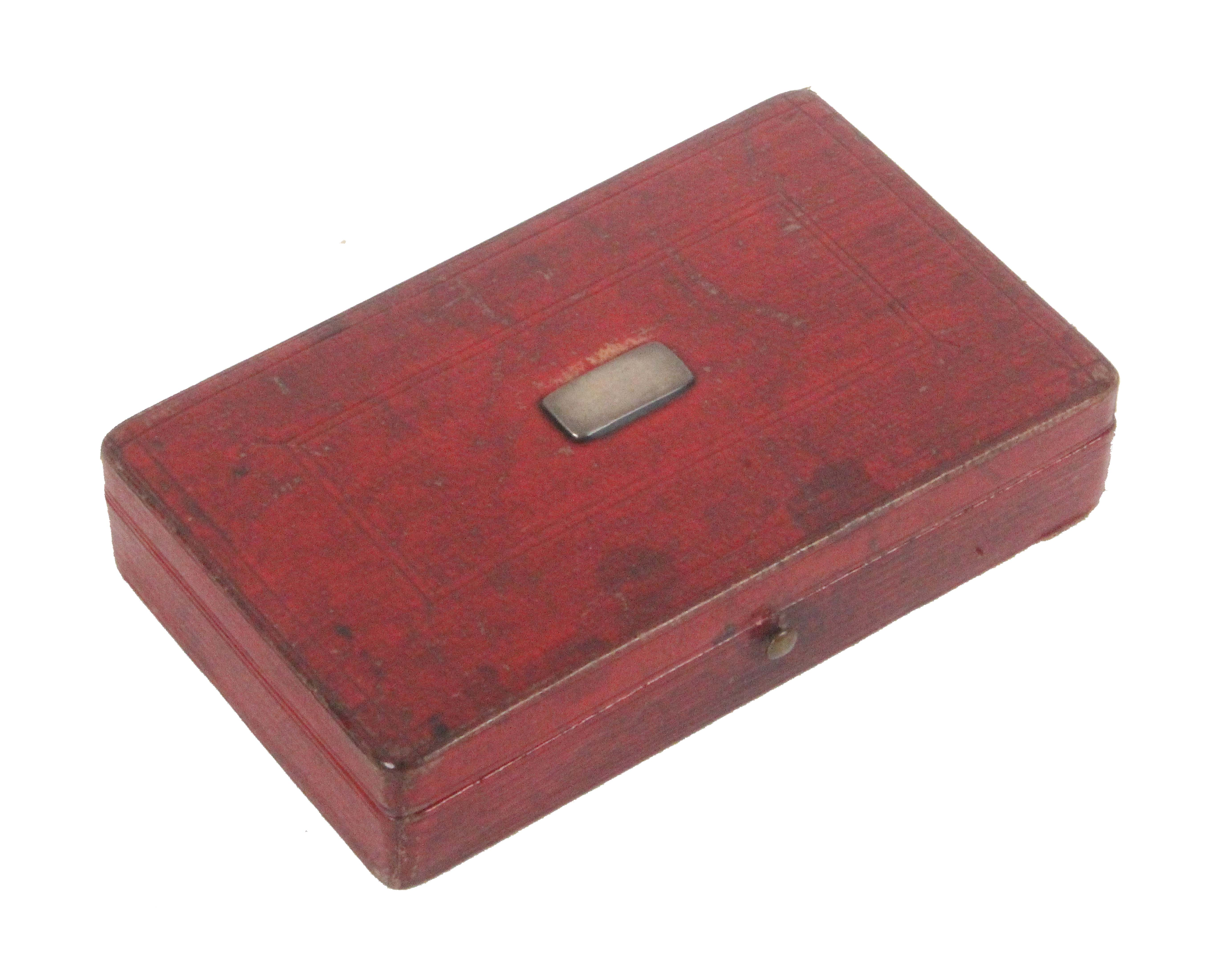 A four piece early Victorian silver sewing set in red leather rectangular case, the lid with - Image 2 of 2