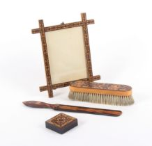 Tunbridge ware - four pieces, comprising a rectangular Oxford type picture frame in geometric