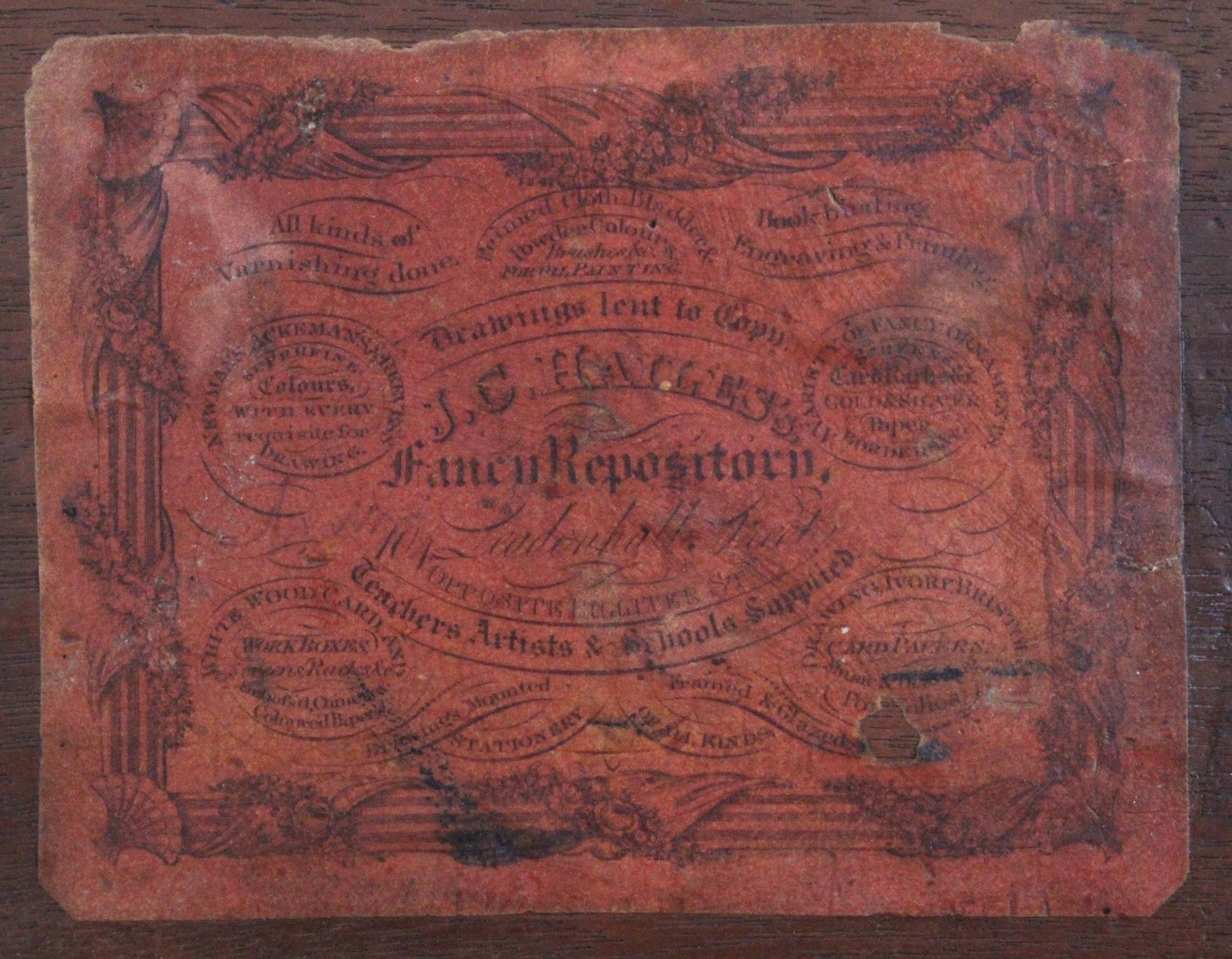 An early 19th Century mahogany paint box, of rectangular form, the lid interior with fancy printed - Image 2 of 3