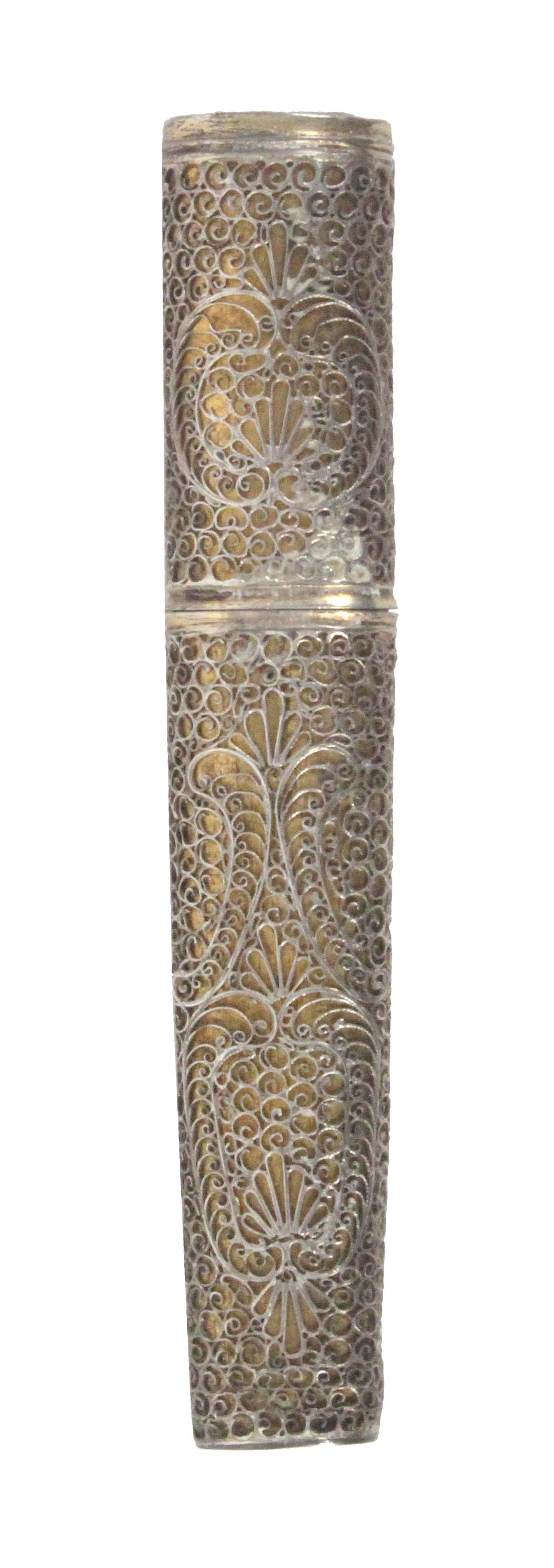 A late 18th Century silver gilt filigree bodkin case, of oval section and tapering form, the quill