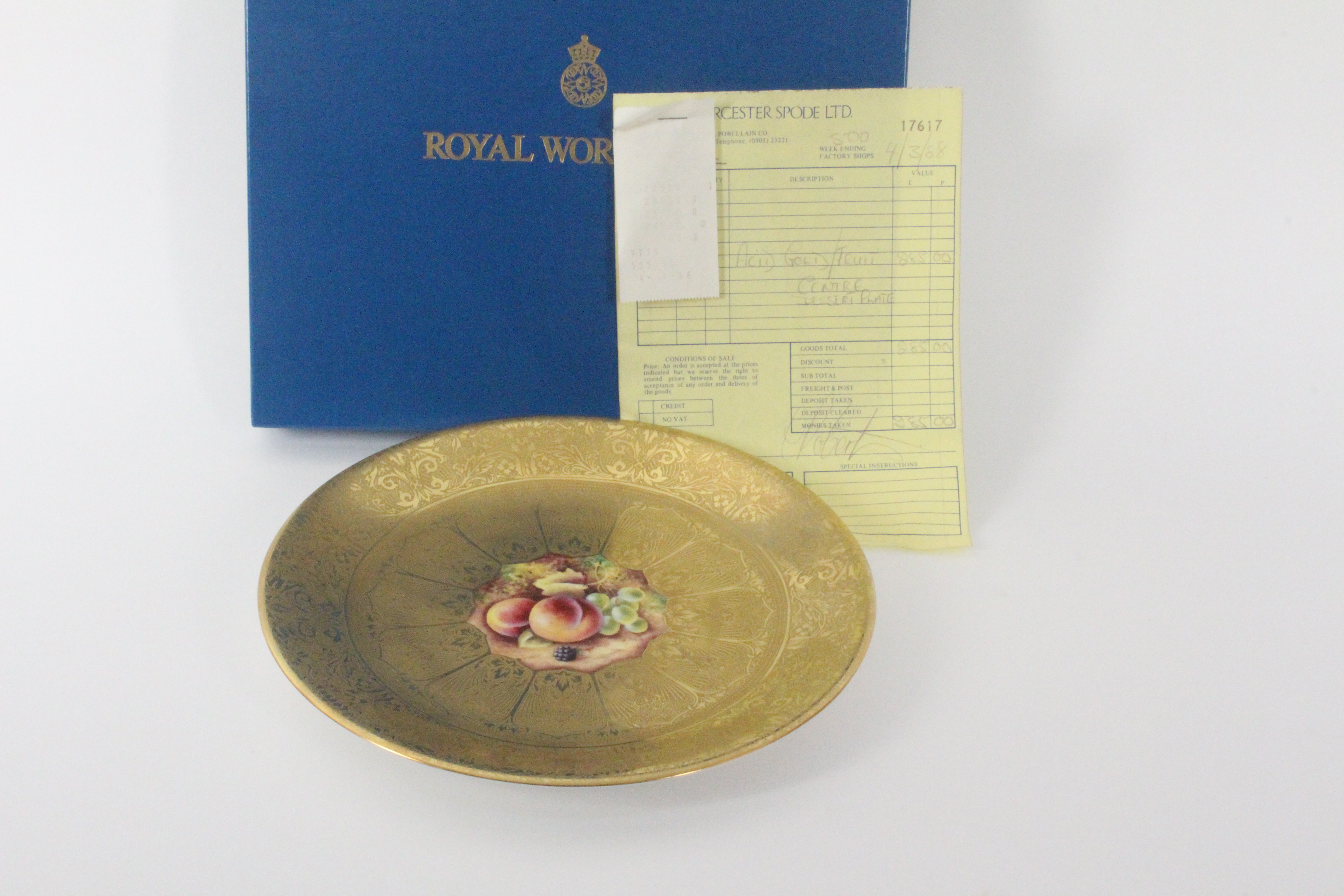 Royal Worcester - an acid gold decorated dessert plate, with fruit painted centre signed 'T. - Image 2 of 2