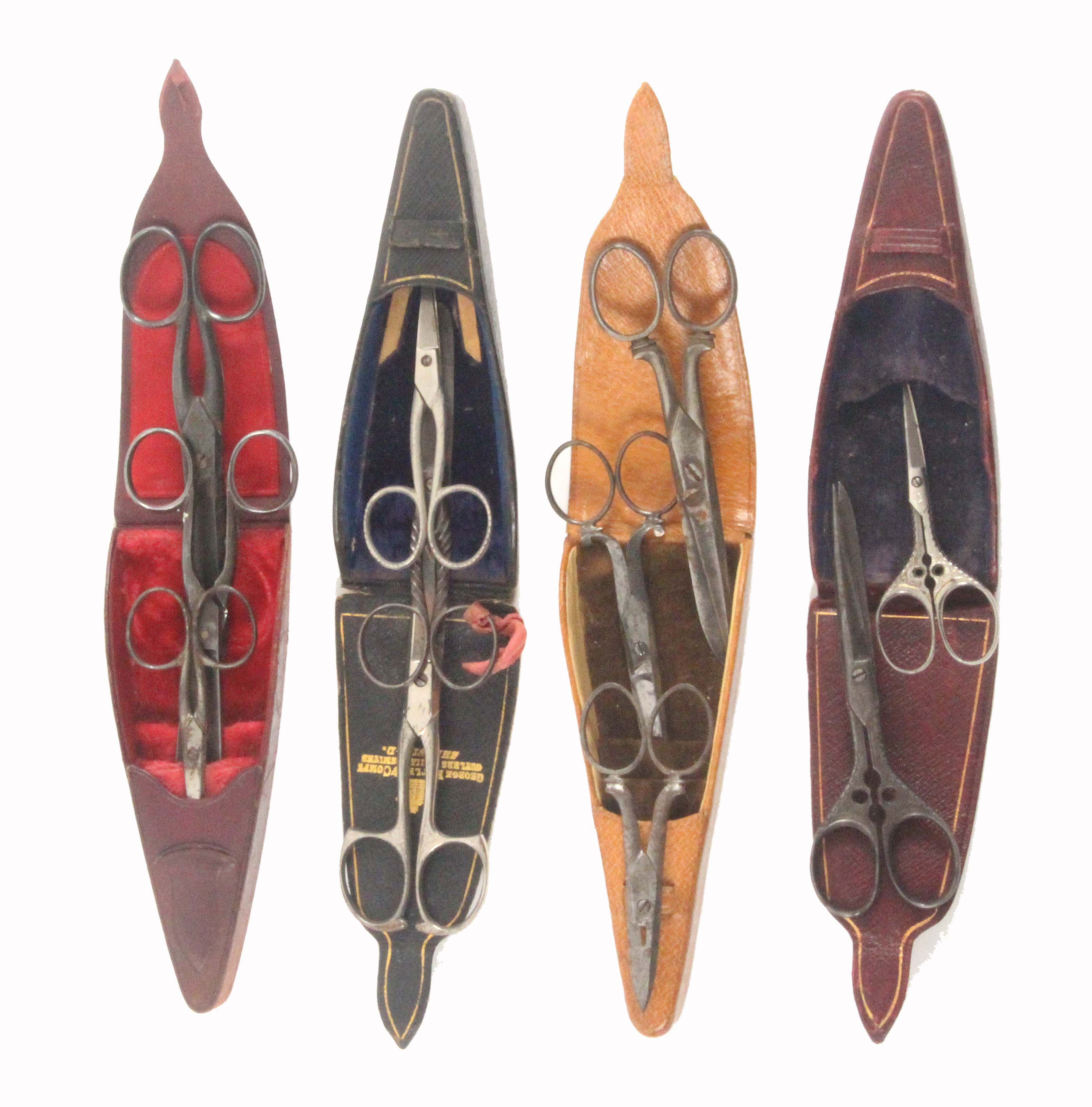 Four leather triangular form scissor cases, three containing three pairs of scissors, one with two - Image 2 of 2