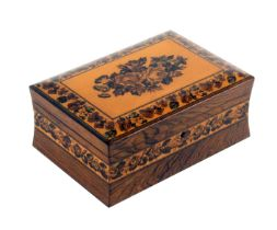 A rosewood Tunbridge ware jewellery box, of rectangular form, the concave sides with a band of