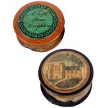 Tunbridge ware - a rare whitewood and print decorated cylinder waxer and another, one side with a