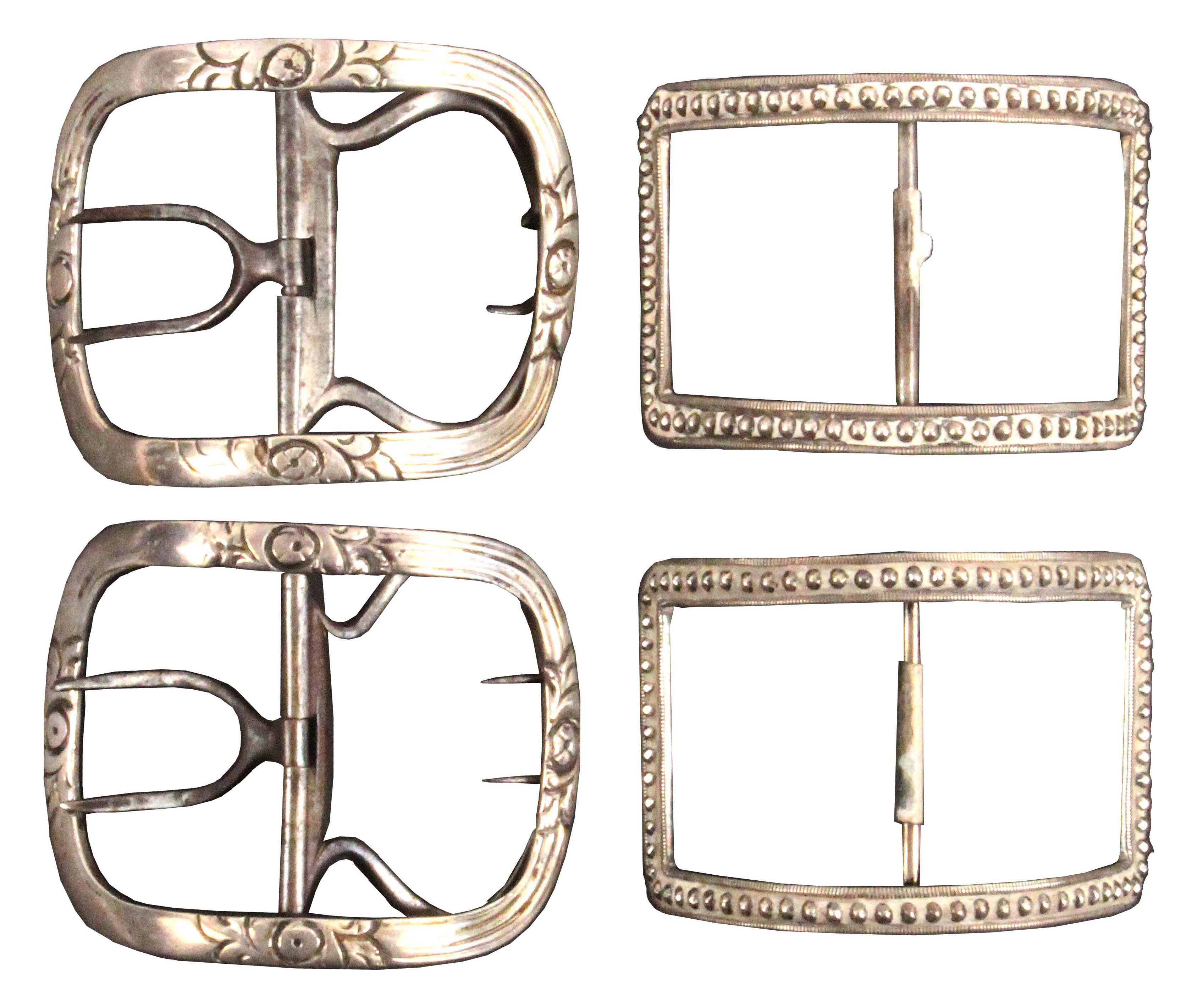 Two pairs of Georgian silver mounted shoe buckles, one with beadwork borders, 6cms, the other pair