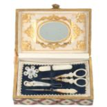 A late Palais Royal paper covered small format sewing box of rectangular form, pressed brass