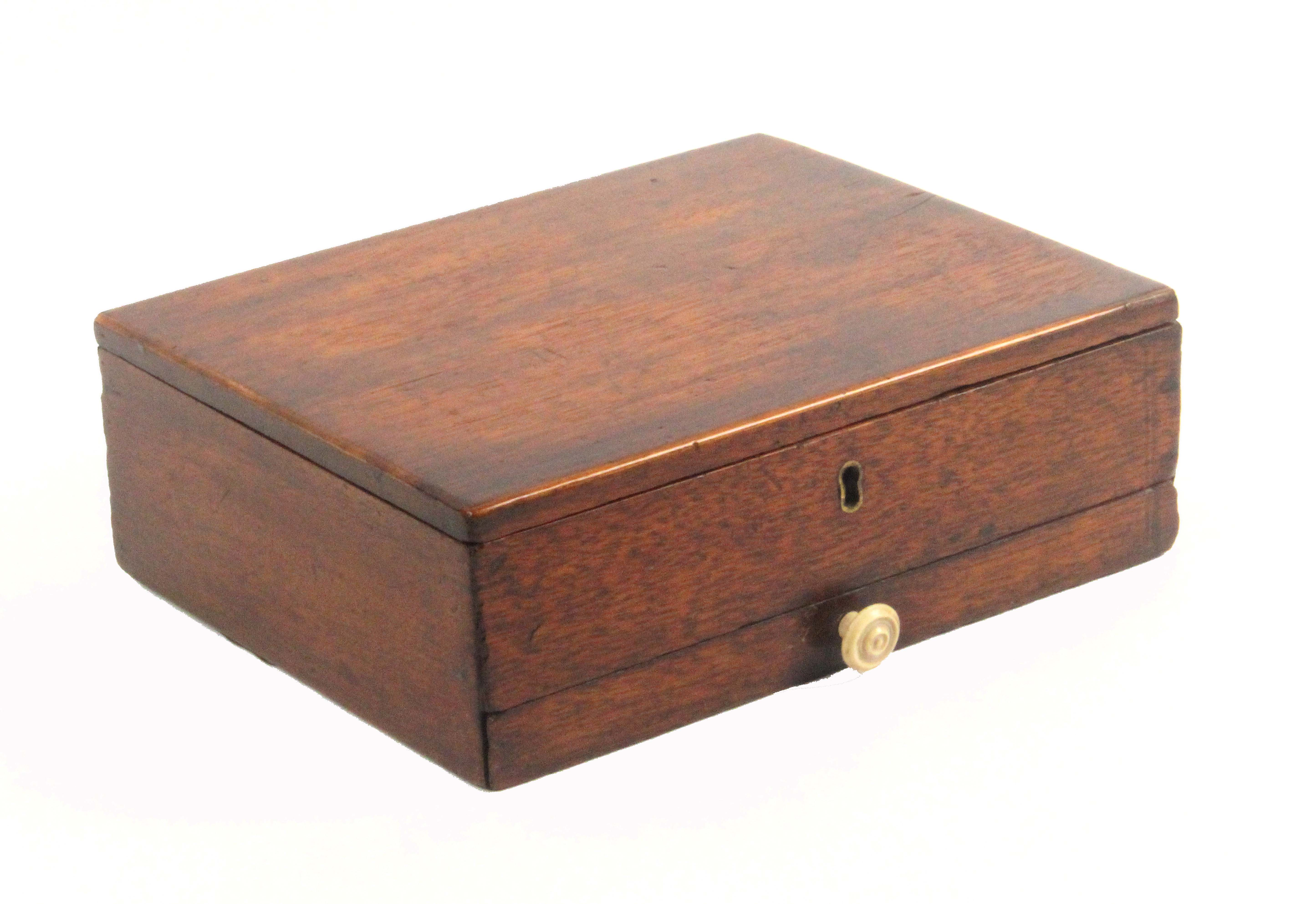 An early 19th Century mahogany paint box, of rectangular form, the lid interior with fancy printed - Image 3 of 3
