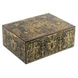 An English 'Boulle' work ebony sewing box of rectangular form, circa 1840, with a number of