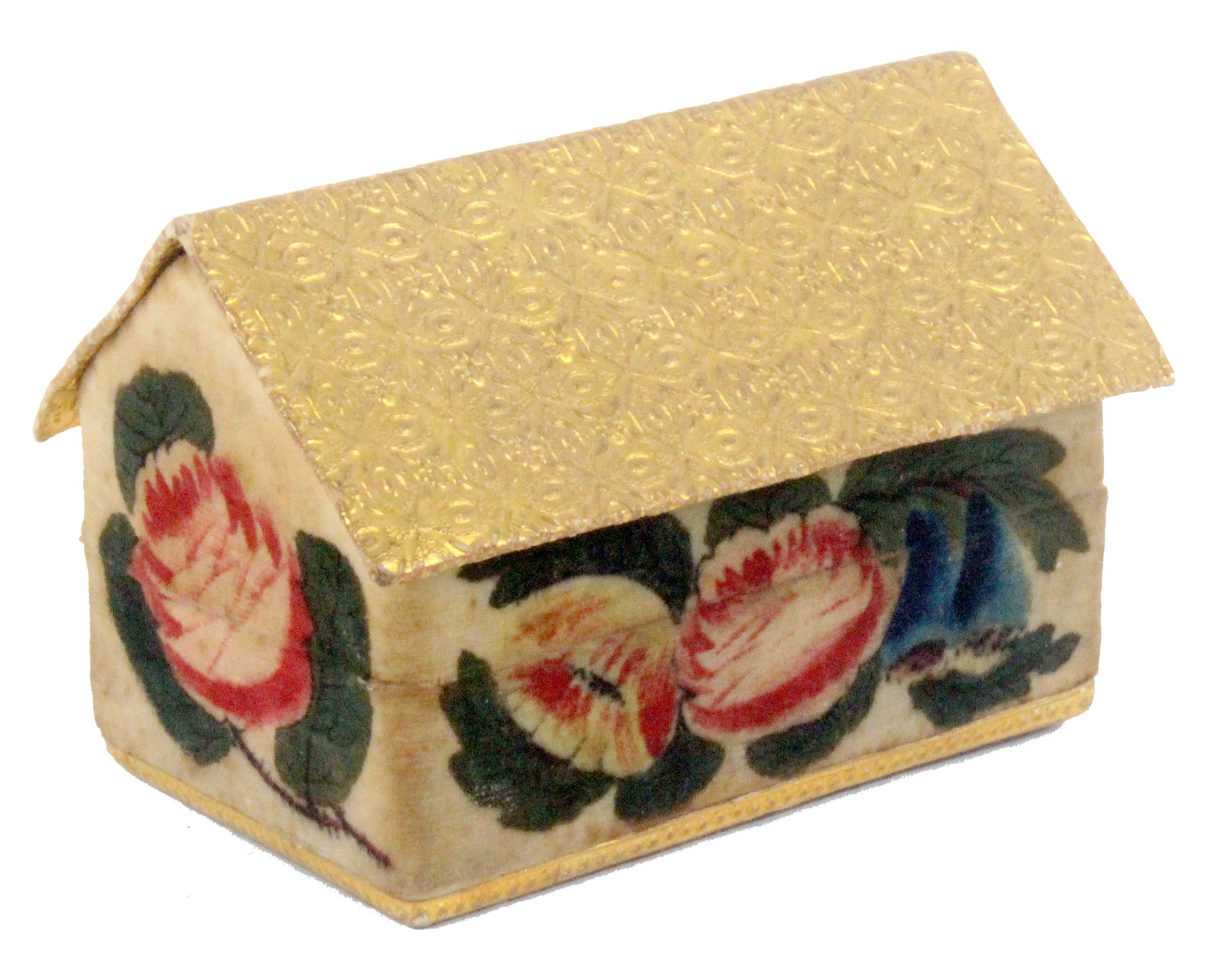 A rare Regency gilt foil and velvet painted child's sewing box in the form of a house, the front and