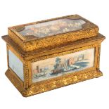 A good 19th Century French bonbonniere of elaborate rectangular form, the glazed lid with a
